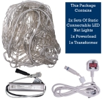 MK 4m X 1m 192 White Indoor And Outdoor Static System 80 Connectable LED Net Light Clear Cable
