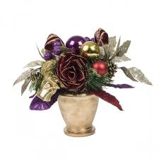 Spiced Wine Christmas Room Decoration Collection - Round Centrepiece In Pot