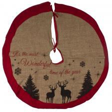 Jute Tree Skirt With Reindeer Design - 86cm
