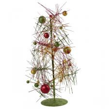 Red, Green & Gold Sparkle Burst Miniature Table Top Tree - 38cm