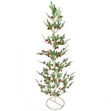 Green Pine Effect Metal Table Top Tree with Red Berries - 62cm