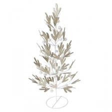 Gold Pine Effect Metal Table Top Tree with White Berries - 42cm