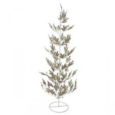 Gold Pine Effect Metal Table Top Tree with White Berries - 62cm