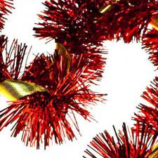 Red Tinsel with Gold Ribbon - 2m x 100mm