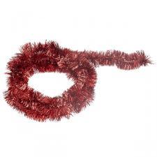 Christmas Red Shiny Tinsel Garland - 75mm X 2.7m