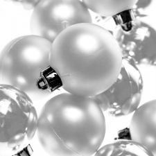 Winter White Baubles - Shatterproof - Pack of 16 x 40mm