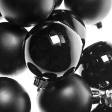 Black Baubles - Shatterproof - Pack of 12 x 60mm