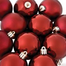 Dark Red Baubles - Shatterproof - Pack of 12 x 60mm