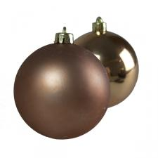 Almond Brown Baubles - Shatterproof - Pack of 6 x 80mm