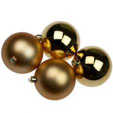 Gold Baubles - Shatterproof - Pack of 4 x 100mm