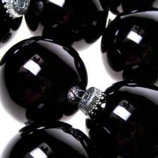 Krebs Ebony Black Glass Baubles - 8 x 67mm