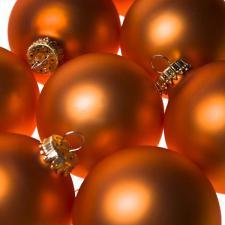 Krebs Orange Velvet Glass Baubles - 8 x 67mm