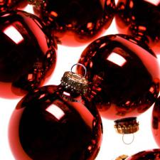 Krebs Christmas Red Glass Baubles - 8 x 67mm