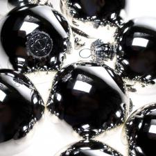 Krebs Bright Silver Glass Baubles - 8 x 67mm