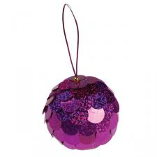 Fuschia Sequin Bauble - 80mm