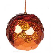 Orange Sequin Bauble - 80mm
