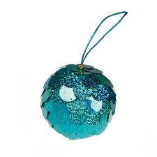 Turquoise Sequin Bauble - 80mm