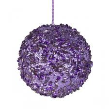 Violet Beaded Bauble - 65mm
