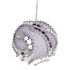 Silver Mirror Beaded Bauble - 80mm