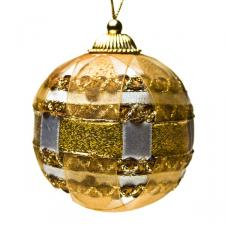 Ivory and Gold Ribbon Bauble - 80mm