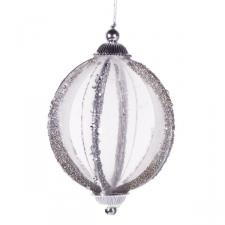 Silver Jewel Glitter Bauble - 75mm