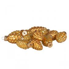 Antique Gold Glass Pine Cones - 12 x 60mm