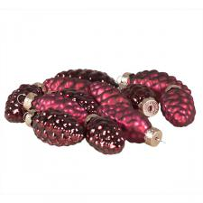 Dark Red Glass Pine Cones - 12 x 60mm