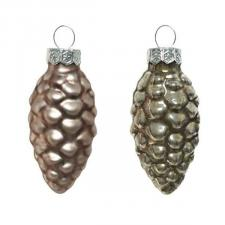 Pale Brown Glass Pine Cones - 12 x 60mm
