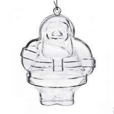 Clear Splittable Santa Bauble - 100mm