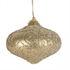 Gold & Gold Glitter Swirl Minaret Hanging Decoration - 11cm