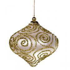 Ivory & Gold Glitter Swirl Minaret Hanging Decoration - 11cm