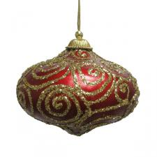 Red & Gold Glitter Swirl Minaret Hanging Decoration - 11cm