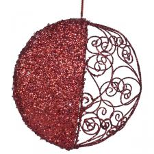 Round Red Filigree & Glitter Hanging Decoration - 15cm
