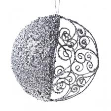 Round Silver Filigree & Glitter Hanging Decoration - 15cm