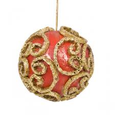 Red & Gold Swirl Decorated Bauble - 11cm