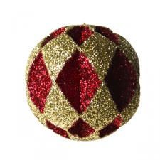 Red & Gold Diamond Cut Glitter Bauble - 30cm