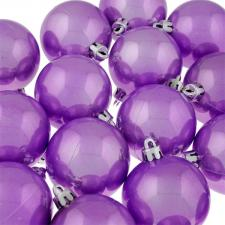 Pearl Purple Baubles Shiny Shatterproof - Pack Of 18 x 60mm