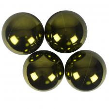 Green Baubles Shiny Shatterproof - Pack Of 4 x 140mm