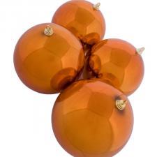 Orange Baubles Shiny Shatterproof - Pack Of 4 x 140mm