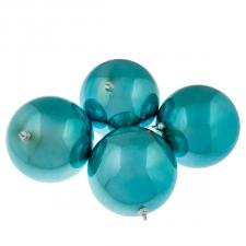 Light Turquoise Baubles Shiny Shatterproof - Pack Of 4 x 140mm