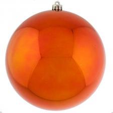 Orange Baubles Shiny Shatterproof - Single 250mm