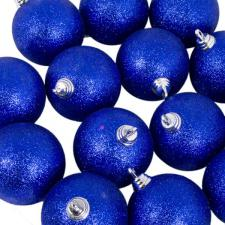 Xmas Baubles - Pack of 18 x 60mm Blue Glitter Shatterproof