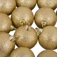 Xmas Baubles - Pack of 18 x 60mm Gold Glitter Shatterproof
