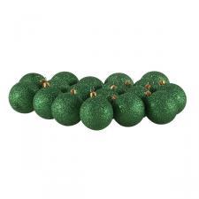 Xmas Baubles - Pack of 18 x 60mm Emerald Green Glitter Shatterproof
