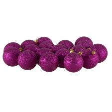 Xmas Baubles - Pack of 18 x 60mm Cerise Pink Glitter Shatterproof