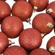 Xmas Baubles - Pack of 18 x 60mm Red Glitter Shatterproof