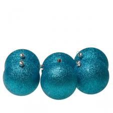 Xmas Baubles - Pack of 6 x 80mm Aqua Turquoise Glitter Shatterproof