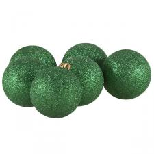Xmas Baubles - Pack of 6 x 80mm Emerald Green Glitter Shatterproof