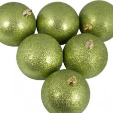 Xmas Baubles - Pack of 6 x 80mm Lime Green Glitter Shatterproof