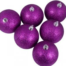 Xmas Baubles - Pack of 6 x 80mm Purple Glitter Shatterproof